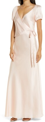 WAYF The Bea Faux Wrap V-Neck Dress