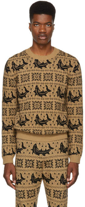 Gucci Brown All Over Jacquard Sweater