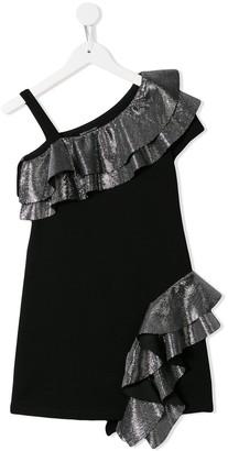 Balmain Kids Frill Trim Off-The-Shoulder Dress