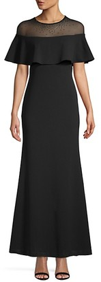 Calvin Klein Embellished Illusion Flutter Gown