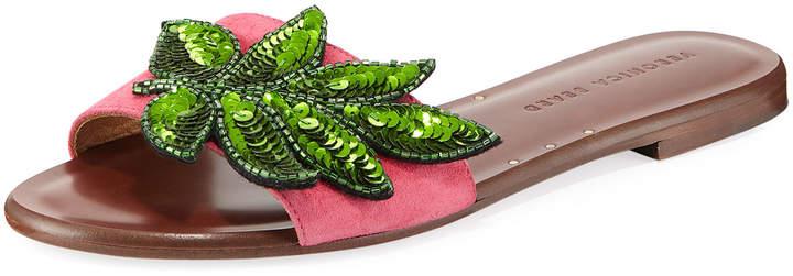 Veronica Beard Flor Sequined Suede Flat Slide Sandal