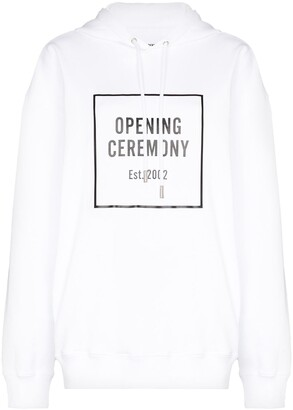 Opening Ceremony White Box Logo Cotton Hoodie