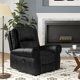 Red Barrel Studio Lori Power Recliner Fabric: Dark Brown Faux Leather