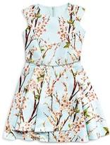 David Charles Girls' Cherry Blossom Pleated Dress - Sizes 7-16