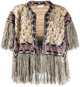 Etro Intarsia-Knit Frayed Cardi-Coat