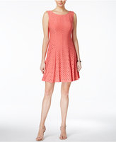 Connected Eyelet Fit & Flare Dress