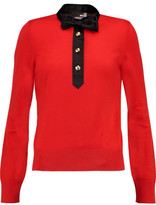 Love Moschino Satin-Trimmed Wool Sweater