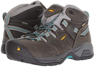 Keen Detroit XT Mid Steel Toe Waterproof (Gargoyle/Lake Blue) Women's Work Boots