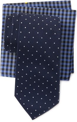 Tommy Hilfiger Classic Dot Tie & Gingham Pocket Square Set