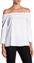 Bobeau Off-the-Shoulder Poplin Shirt
