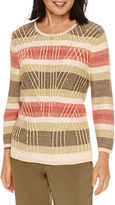 Alfred Dunner Cactus Ranch 3/4 Sleeve Stripe Sweater