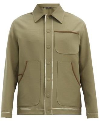 Fendi Suede-piped Wool-blend Gabardine Shirt - Green