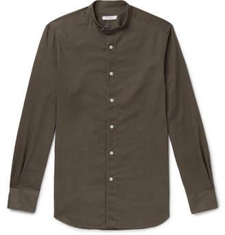 Boglioli Slim-Fit Grandad-Collar Linen And Cotton-Blend Shirt