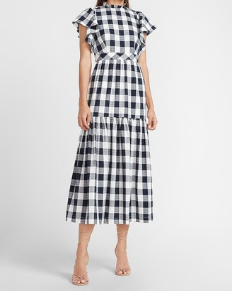 Express Ladygang Gingham Print Maxi Dress