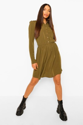 boohoo Tall Woven Skater Shirt Dress