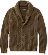 L.L. Bean L.L.Bean Signature Fisherman Sweater, Washed Shawl-Collar Cardigan