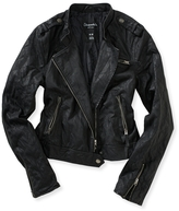Aeropostale Faux Leather Quilted Sleeve Moto Jacket