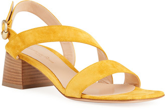 Gianvito Rossi 45mm Asymmetrical Suede City Sandals