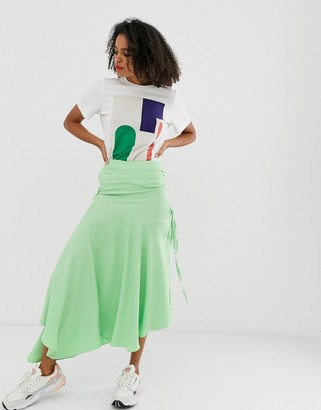 Asos block colour ruched skirt