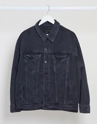 AllSaints lark denim jacket in washed black