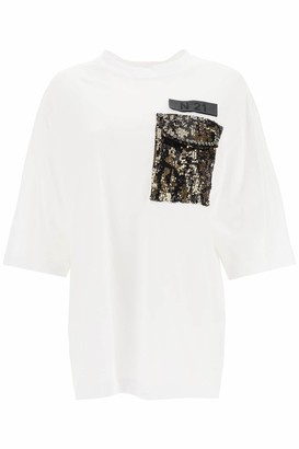 N°21 N.21 T-SHIRT WITH SEQUINED POCKET 36 White, Gold, Black Cotton