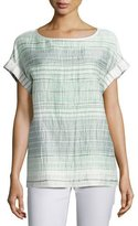 Lafayette 148 New York Lori Short-Sleeve Palmetto Crinkle-Stripe Blouse, Multi Pattern, Plus Size