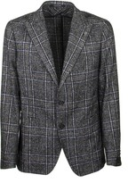 Tagliatore Checkered Jacket With Two Gray And Blue Buttons Blazer