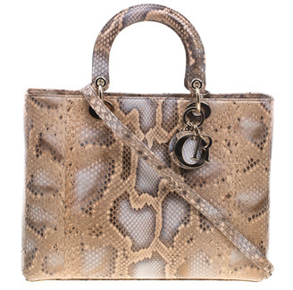 Christian Dior Beige Python Large Lady Tote