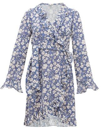 Belize - Ramona Ruffled Floral-print Crepe Dress - Womens - Blue White