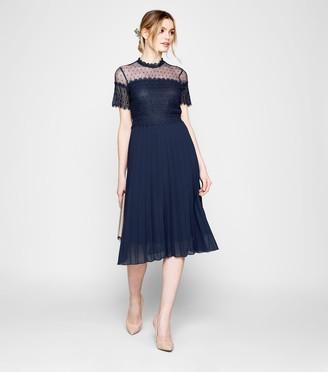 New Look Spot Mesh Crochet Pleated Midi Dress