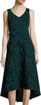 Catherine Malandrino Velvet Jacquard High-Low Dress, Black Pattern