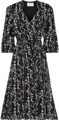 BA&SH Metallic Floral-print Georgette Wrap Dress