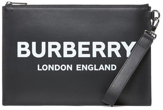 Burberry Logo Print Zip Clutch
