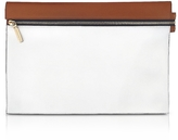 Victoria Beckham White and Cognac Leather Zip Pouch