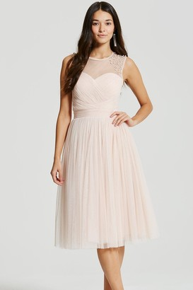 Little Mistress Nude Embellished Sheer Midi Dress