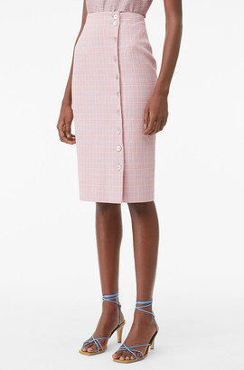 Rebecca Taylor Tailored Rose Plaid Suiting Skirt