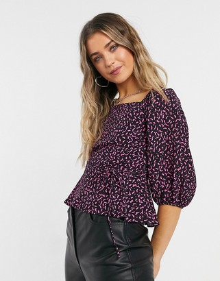 New Look square neck textured top in black pattern