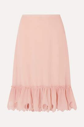 See by Chloe Ruffled Cutout Georgette Midi Skirt - Pink