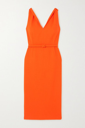Oscar de la Renta Belted Wool-blend Crepe Midi Dress - Orange