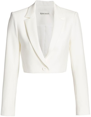 Alice + Olivia Macey Crop Notch Collar Jacket