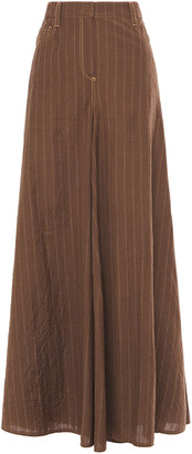 Brunello Cucinelli Pinstriped Crinkled-wool Wide-leg Pants