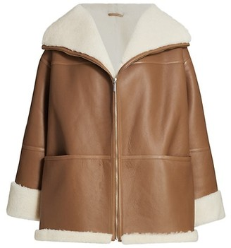 Totême Menfi Shearling-Trim Leather Coat