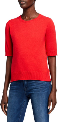 Neiman Marcus Cashmere Crewneck Elbow Sleeve T-Shirt Sweater