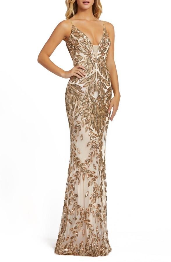 Mac Duggal Sequin Leaf Mermaid Gown