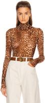 Laquan Smith LaQuan Smith Animalia Bodysuit in Leopard Natural   FWRD
