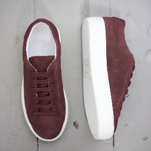 J. Lindeberg Burgundy Low Lace Suede Sneakers Shoes - 4 UK - Red/White