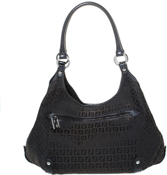 Fendi Black Zucchino Canvas and Leather Front Zip Hobo