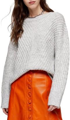 Topshop Mix Chevron Rib Sweater