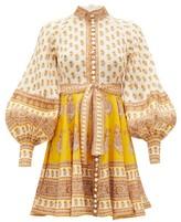 Zimmermann Bonita Paisley-print Linen Mini Dress - Womens - Yellow Print