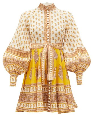 Zimmermann Bonita Paisley-print Linen Mini Dress - Womens - Yellow Print